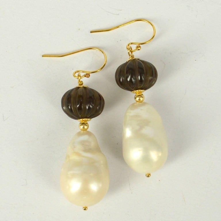 Decadent Jewels Carved Smokey Quartz Baroque Pearl Gold Earrings 3