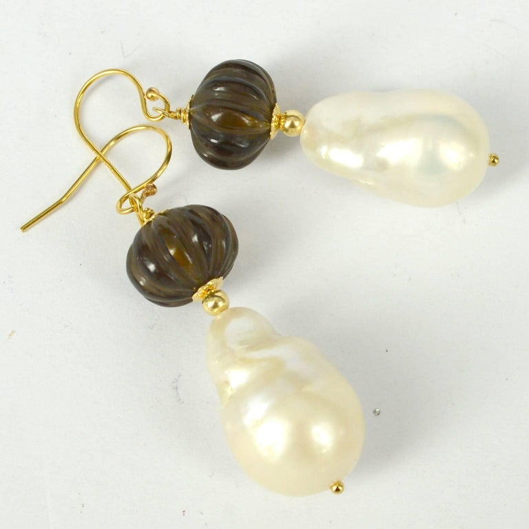 Decadent Jewels Carved Smokey Quartz Baroque Pearl Gold Earrings 4