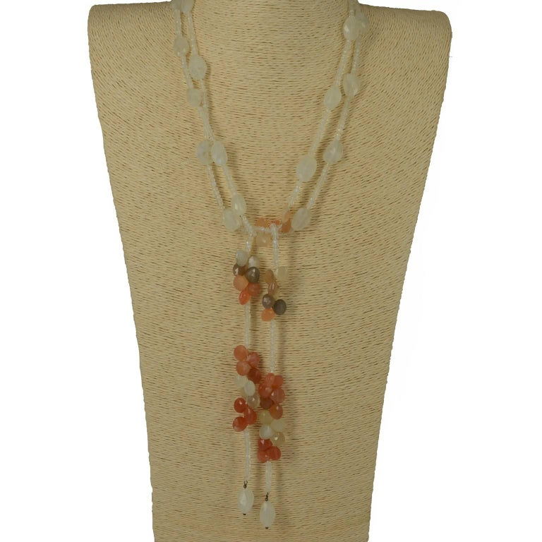 Modern Decadent Jewels Rainbow Moonstone Silver Lariat Necklace For Sale
