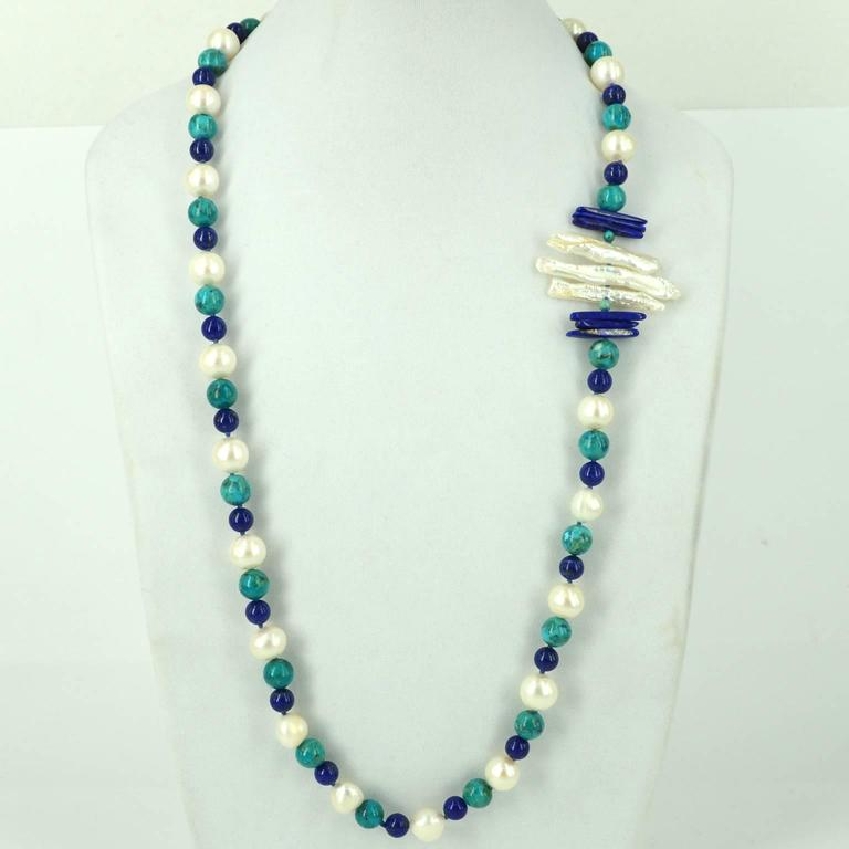 """Modern Decadent Jewel """"Copella"""" Lapis Lazuli Turquoise Pearl Bead Silver Necklace For Sale"""