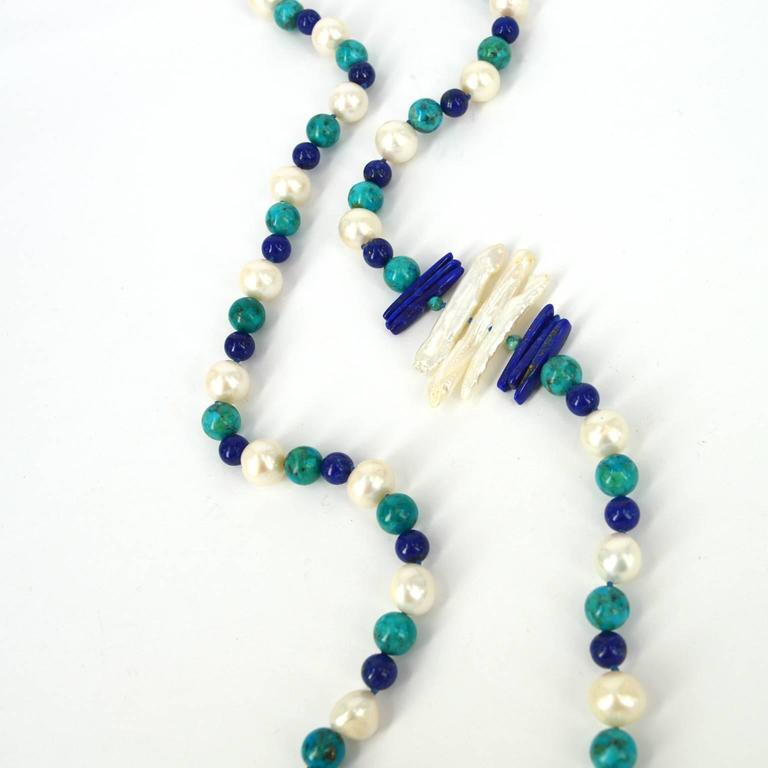 """Decadent Jewel """"Copella"""" Lapis Lazuli Turquoise Pearl Bead Silver Necklace In As New Condition For Sale In Sydney, AU"""
