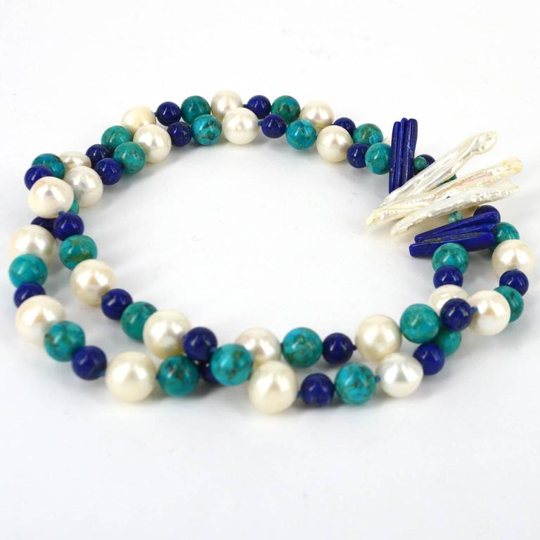 """Women's Decadent Jewel """"Copella"""" Lapis Lazuli Turquoise Pearl Bead Silver Necklace For Sale"""