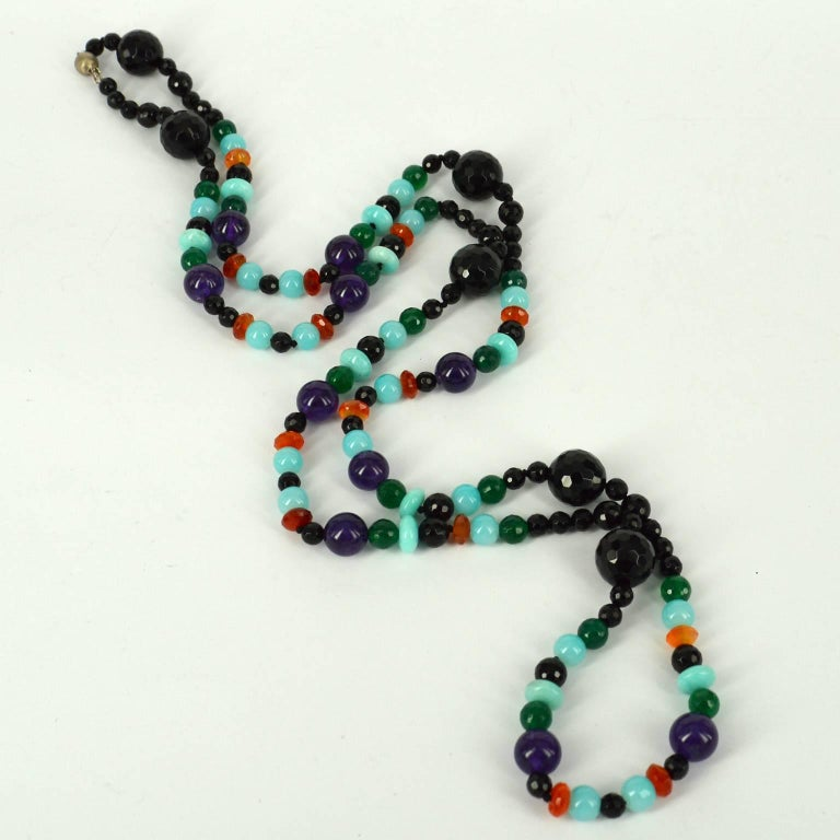 Contemporary Decadent Jewels Onyx Green Onyx Amethyst Carnelian Amazonite Silver Necklace For Sale