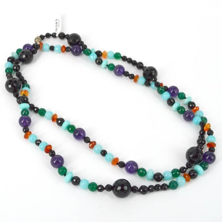 Decadent Jewels Onyx Green Onyx Amethyst Carnelian Amazonite Silver Necklace In As new Condition For Sale In Sydney, AU