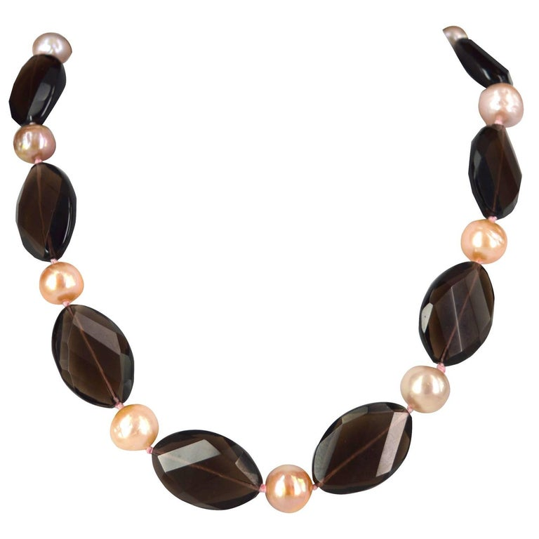 Pink Pearl Smokey Quartz Gold Bead Necklace