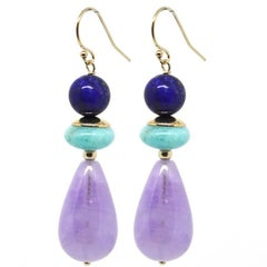 Amethyst Amazonite Lapis Lazuli Gold Stud Earrings