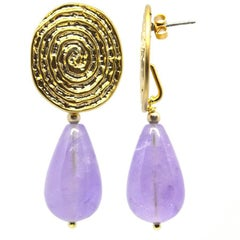 Cape Amethyst Coil Gold Stud Earrings