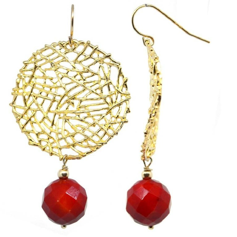 Coral Gold Round Wire Drop Earrings
