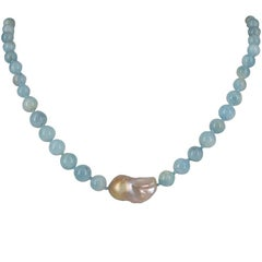 Eva Baroque Pearl and Aquamarine Sterling Silver Necklace