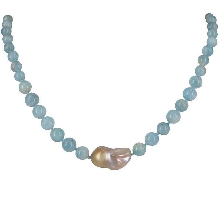 Eva Baroque Pearl and Aquamarine Sterling Silver Necklace