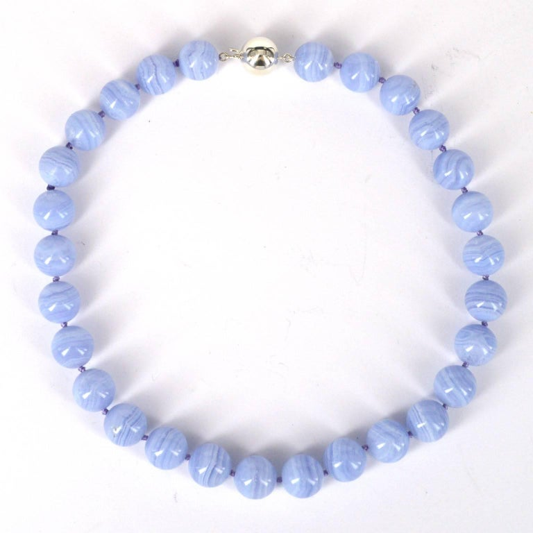 Modern Decadent Jewels Blue Lace Agate Silver Necklace For Sale