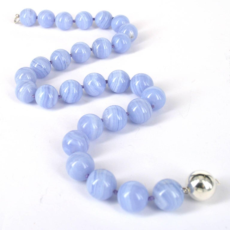 Women's Decadent Jewels Blue Lace Agate Silver Necklace For Sale