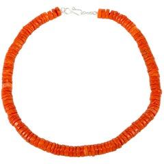 Orange Coral Heishi Sterling Silver Necklace