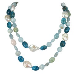 Decadent Jewels Aquamarine Beryl Apatite Pearl Long Silver Necklace