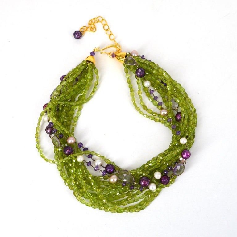 Modern Decadent Jewels Peridot Amethyst Pearl Gold Torsade Necklace For Sale