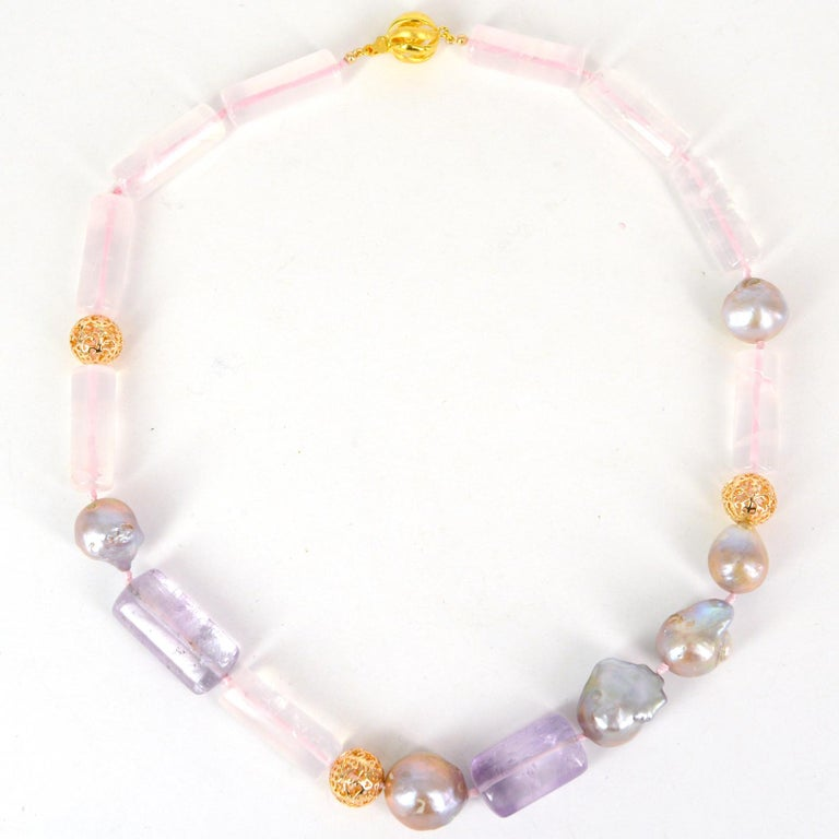 Modern Decadent Jewels Rose Quartz Amethyst Pink Pearl Gold Necklace For Sale