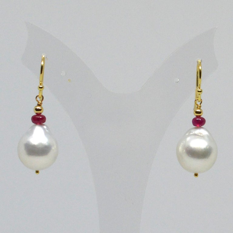 Decadent Jewels Ruby South Sea Pearl Gold Earrings In New Condition For Sale In Sydney, AU