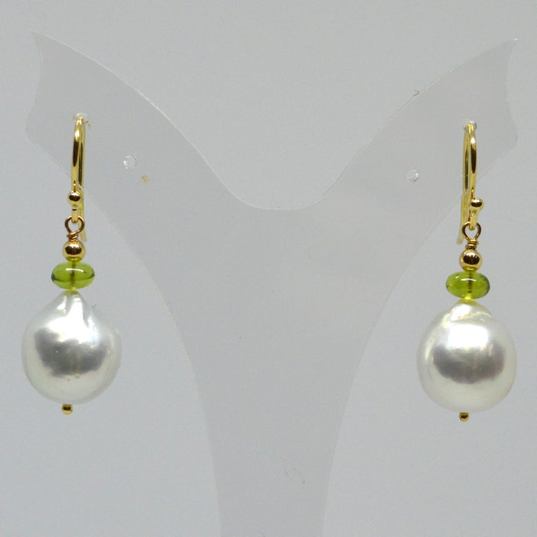 Decadent Jewels Peridot South Sea Pearl Gold Earrings In New Condition For Sale In Sydney, AU