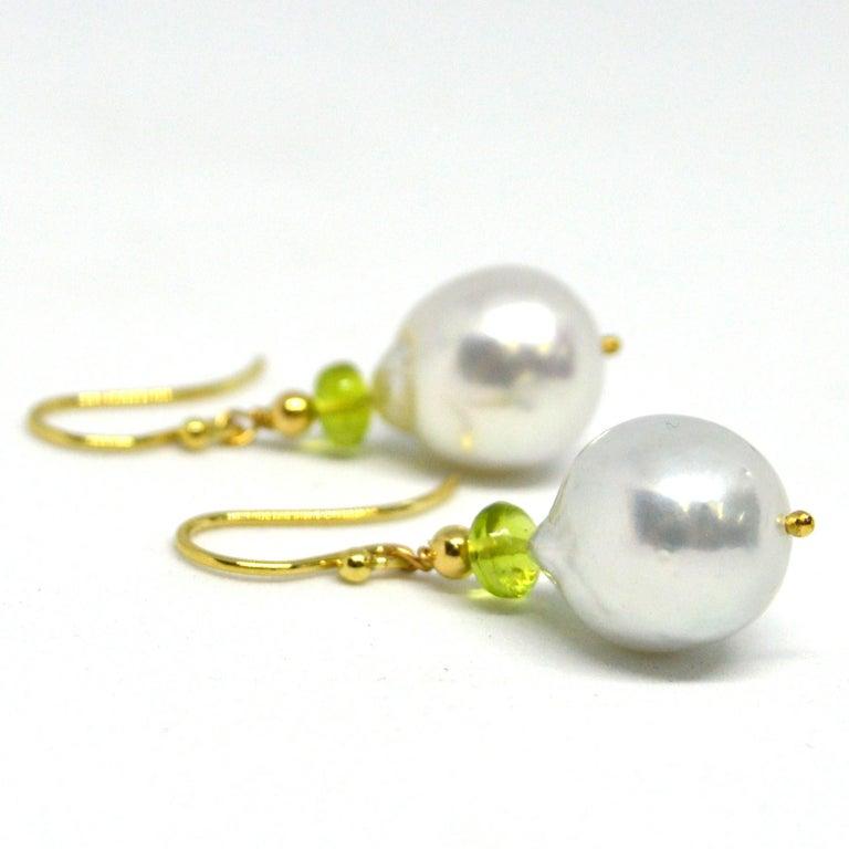 Women's Decadent Jewels Peridot South Sea Pearl Gold Earrings For Sale