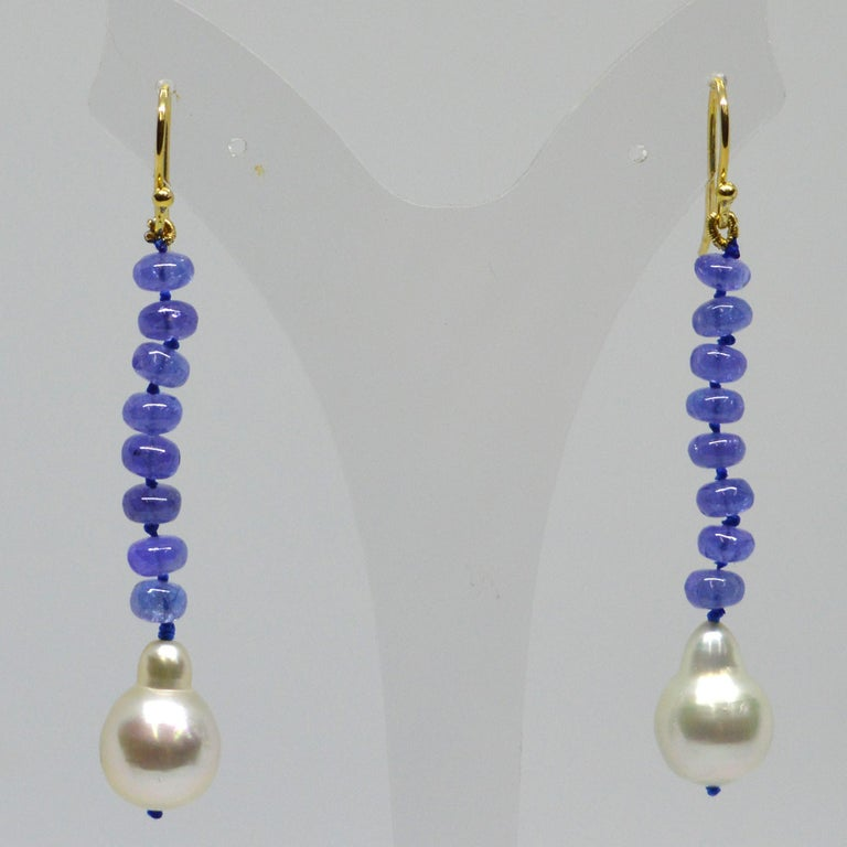 Women's Decadent Jewels Tanzanite South Sea Pearl 9 Carat Gold Earrings For Sale