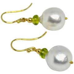 Decadent Jewels Peridot South Sea Pearl Gold Earrings