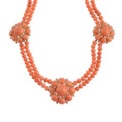 18 Carat Gold Coral and Diamond Necklace