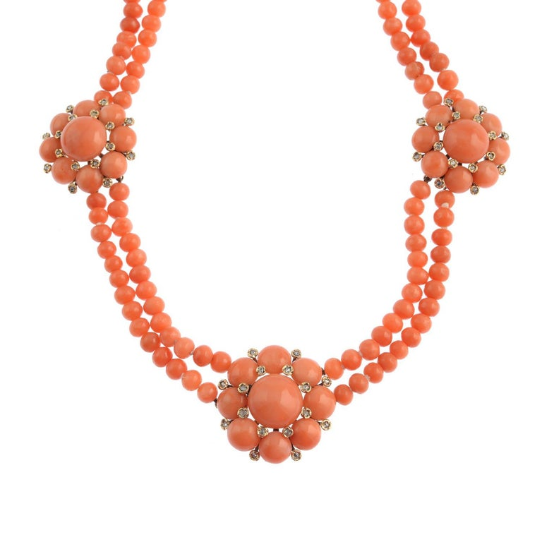 18 Karat Gold Coral and Diamond Necklace