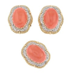 Set of 18 Karat Coral or Diamond Earclip and Ring