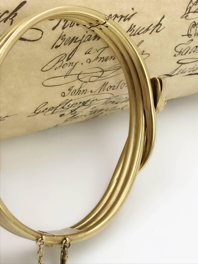 Late Victorian Gold and Diamond Snake Hinged Bangle In Excellent Condition For Sale In Birmingham, GB