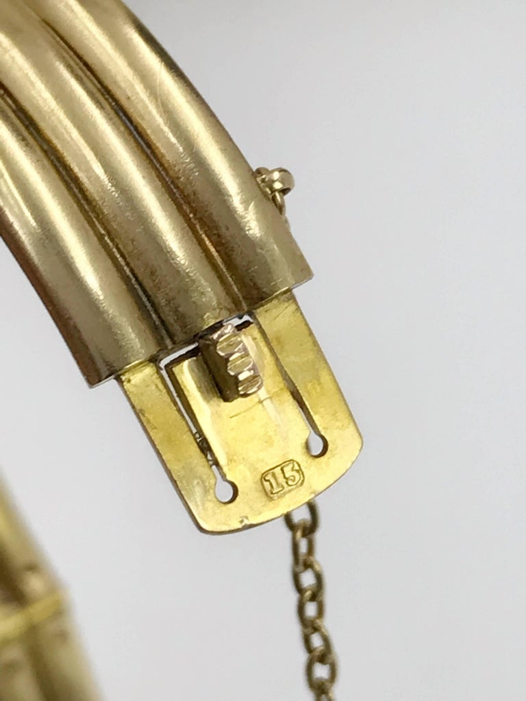 Women's or Men's 15K Late Victorian Gold and Diamond Snake Hinged Bangle Bracelet For Sale