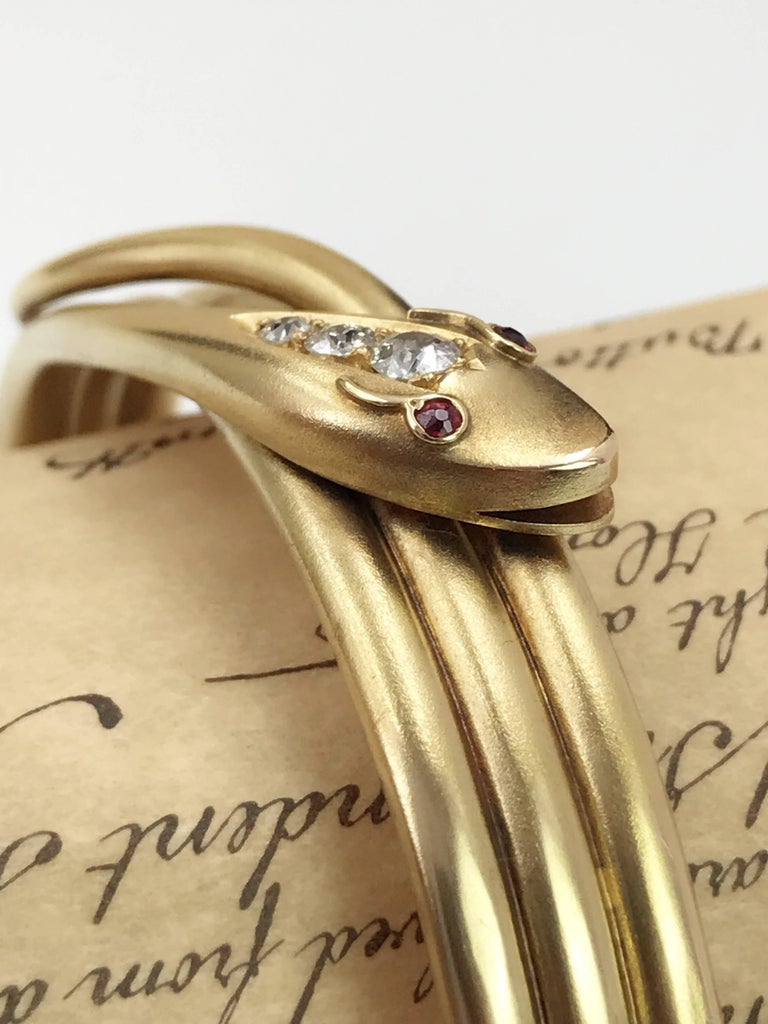 Old European Cut Late Victorian Gold and Diamond Snake Hinged Bangle For Sale