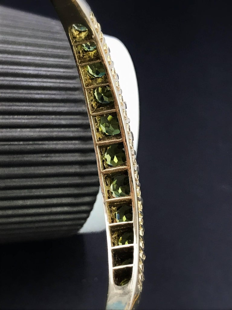 Gold Victorian Peridot and Diamond Bangle Bracelet For Sale 1