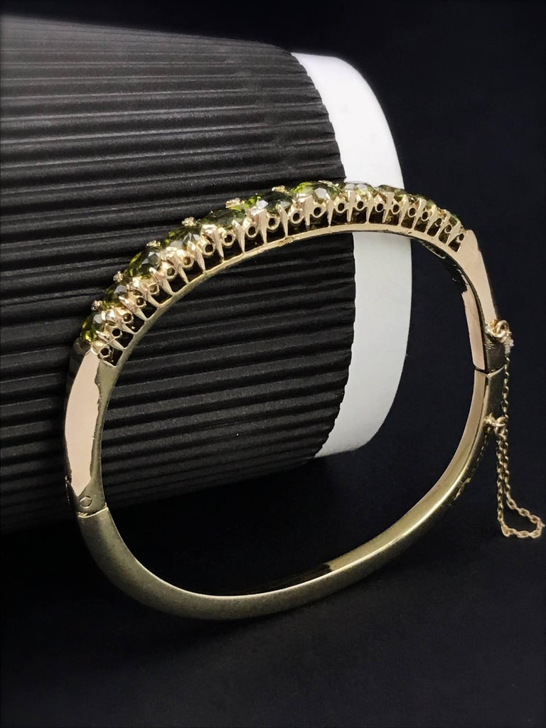 Women's Gold Victorian Peridot and Diamond Bangle Bracelet For Sale