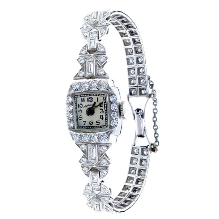 Hamilton Lady's Platinum and Diamond Bracelet Watch