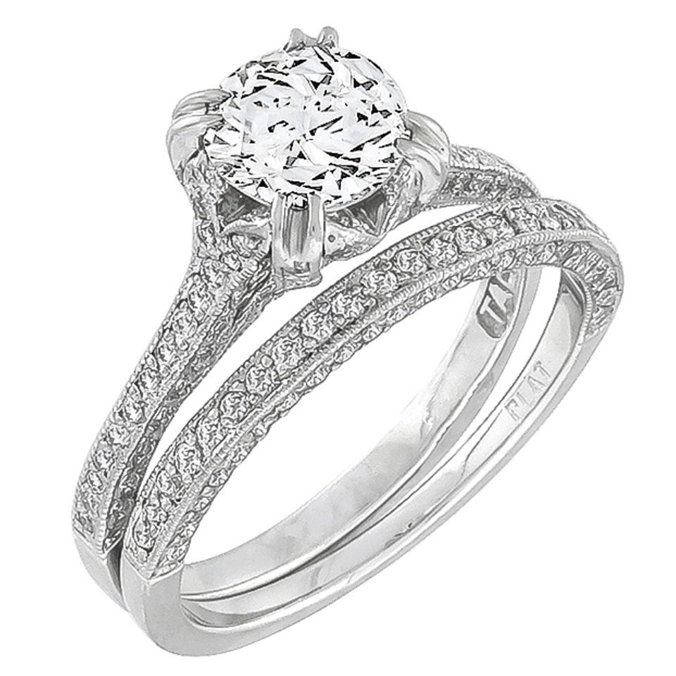 tacori engagement ring and wedding band set for