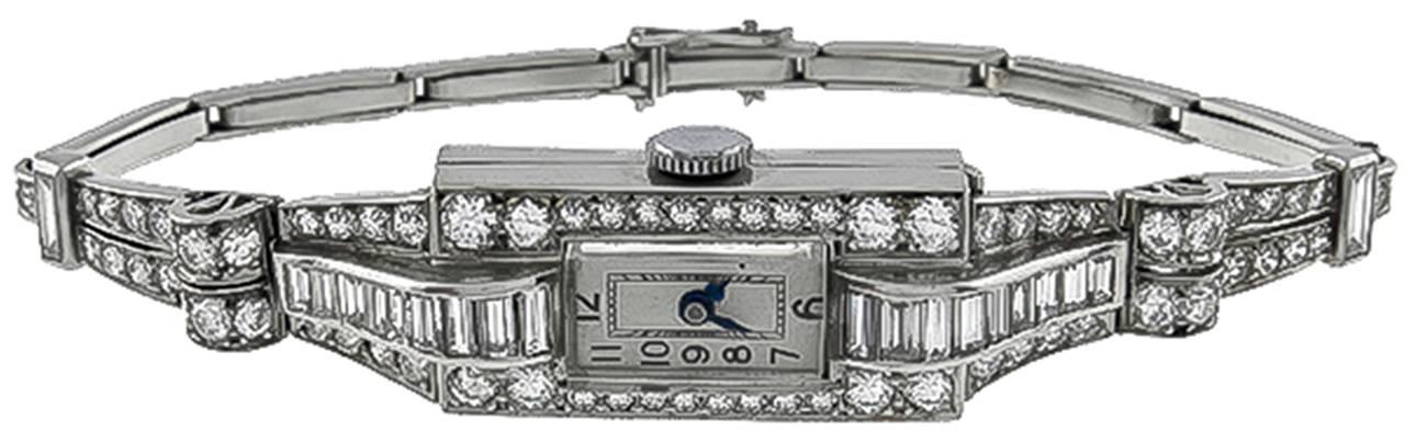 Women's Lady's Platinum and Diamond Art Deco Bracelet Watch cira 1920s For Sale