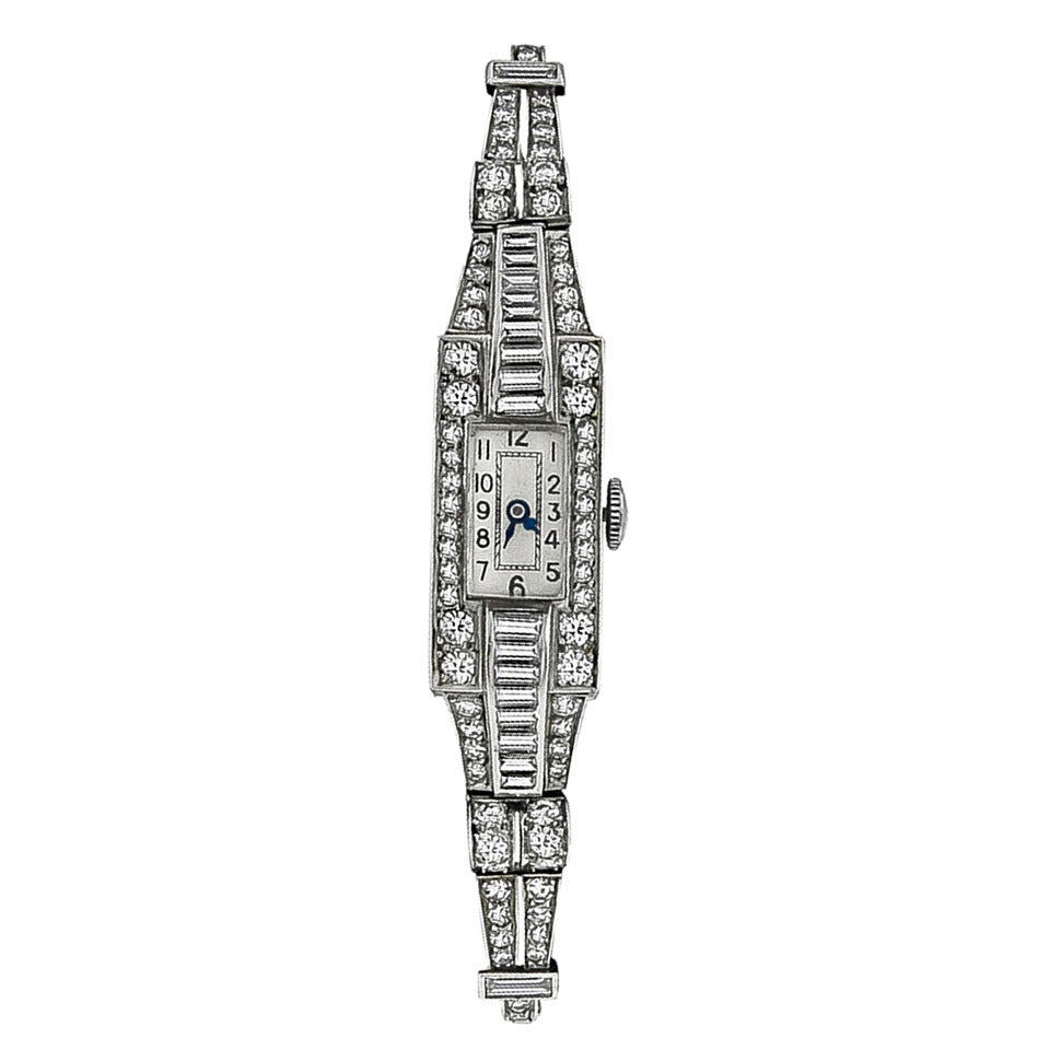 Lady's Platinum and Diamond Art Deco Bracelet Watch cira 1920s