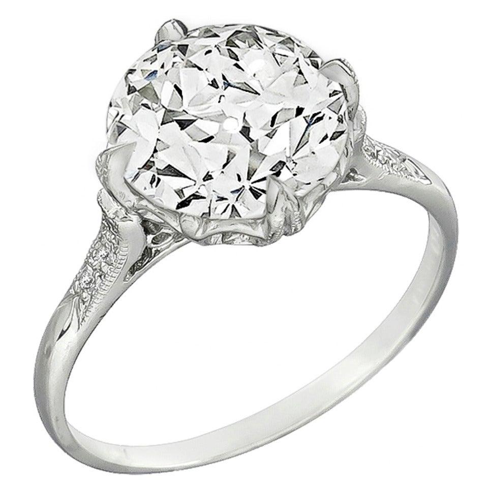 Three Carat Diamond Platinum Engagement Ring