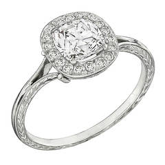 1.16 Carat Diamond Platinum Halo Ring