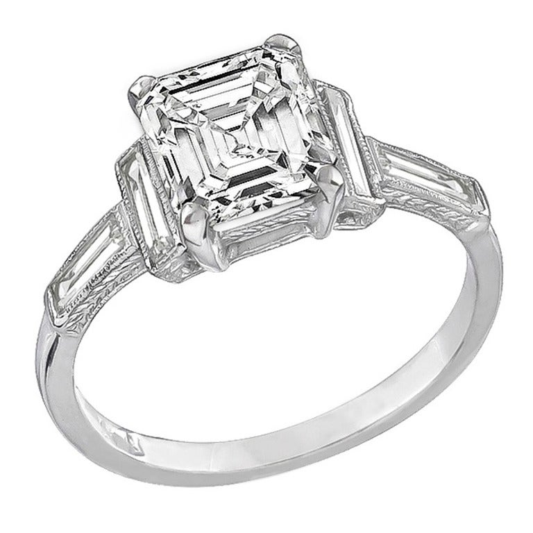 2 18 carat emerald cut engagement ring for sale at