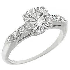 1.05ct. Diamond GIA  Cert Platinum Engagement Ring