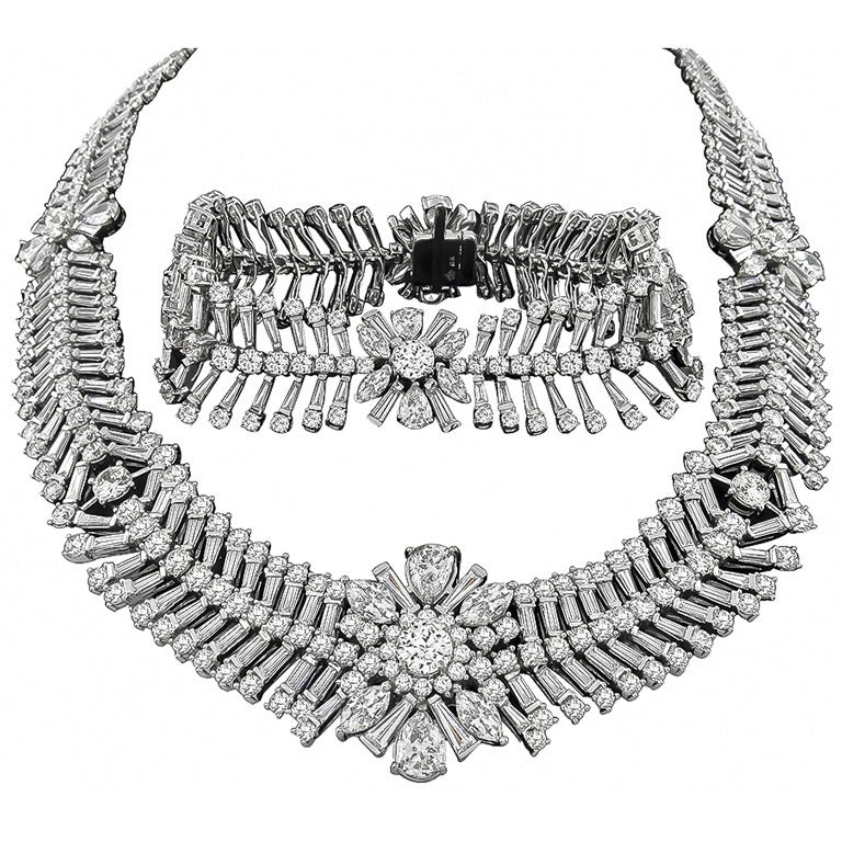 Important Diamond Necklace and Bracelet Set For Sale at 1stdibs
