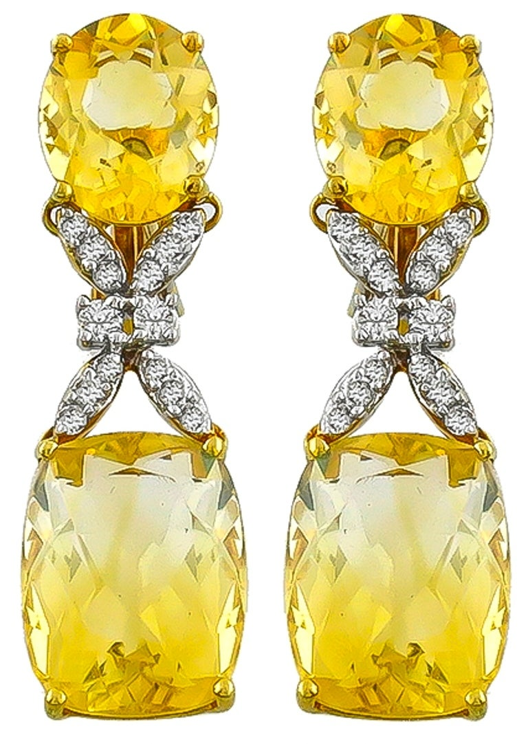 Citrine Diamond Gold Necklace and Earrings Set In Excellent Condition For Sale In New York, NY