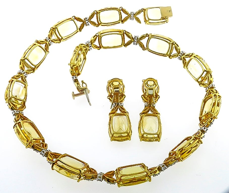 Women's Citrine Diamond Gold Necklace and Earrings Set For Sale