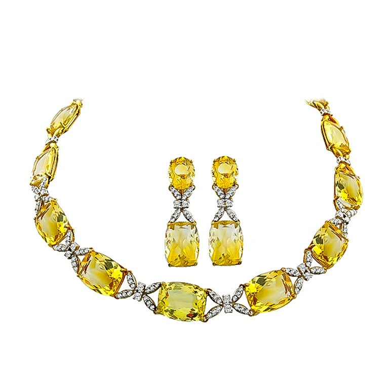 Citrine Diamond Gold Necklace and Earrings Set For Sale