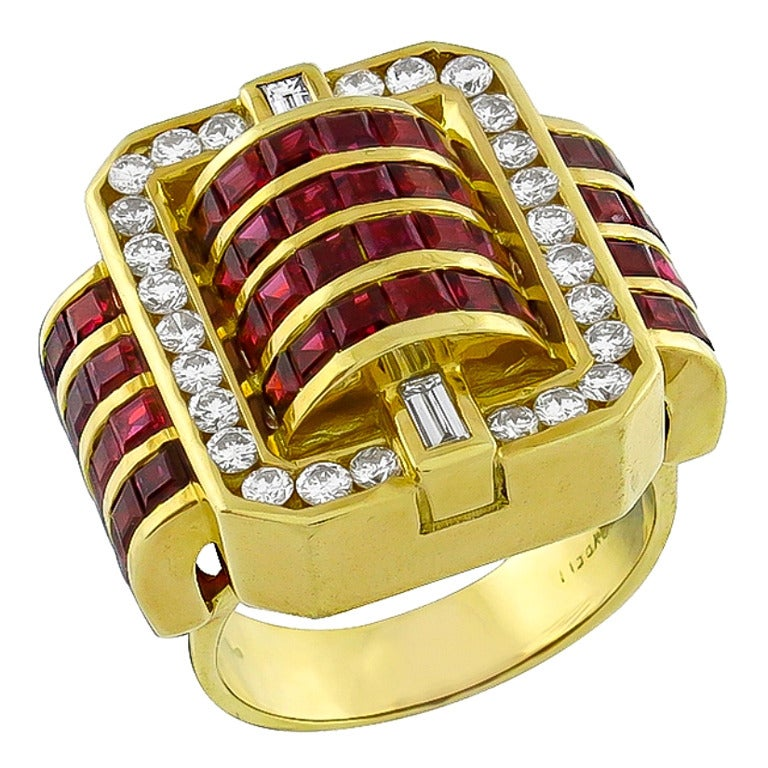 Charles Krypell Ruby Diamond Gold Buckle Ring At 1stdibs