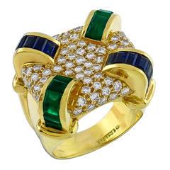 Charles Krypell Emerald Sapphire Diamond Ring