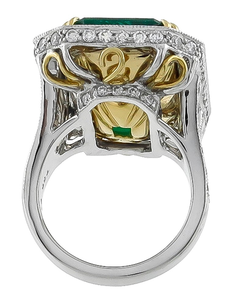 Awesome 17.75 Carat Emerald Diamond Platinum Cocktail Ring In New Condition For Sale In New York, NY