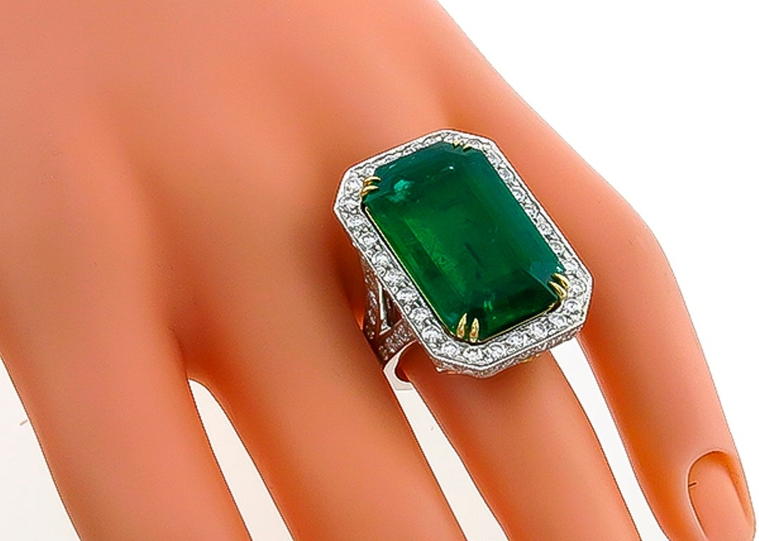 Modern Awesome 17.75 Carat Emerald Diamond Platinum Cocktail Ring For Sale