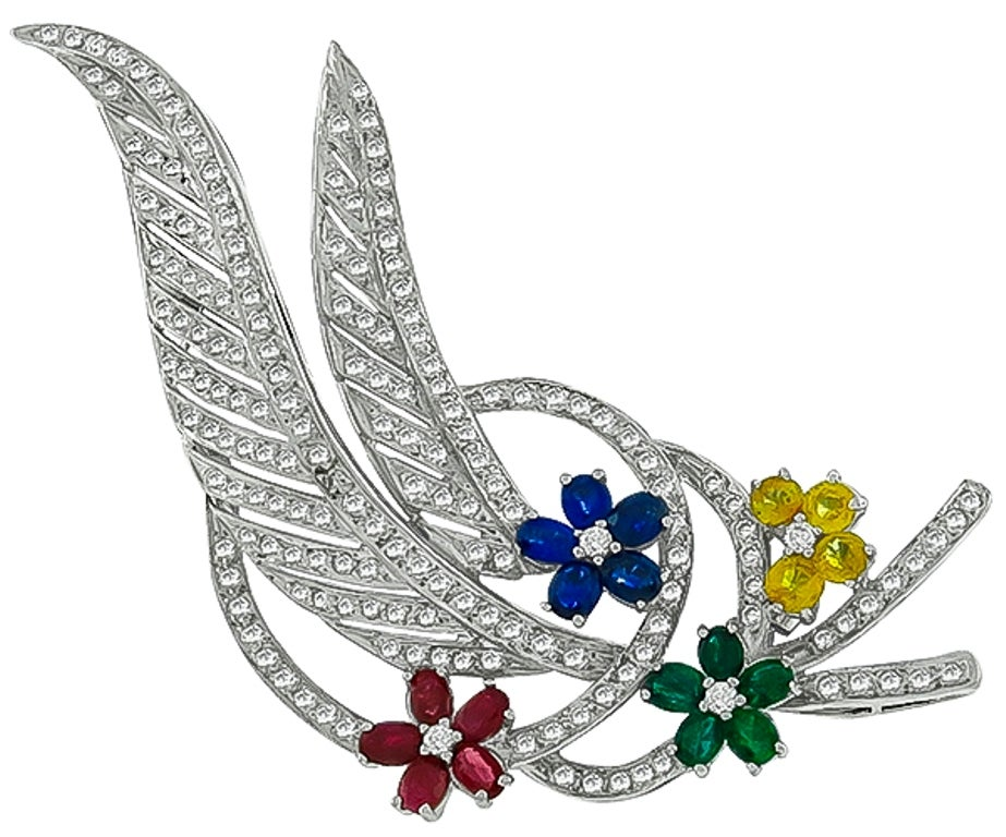 Women's Emerald Ruby Sapphire Diamond Gold Pin Brooch For Sale
